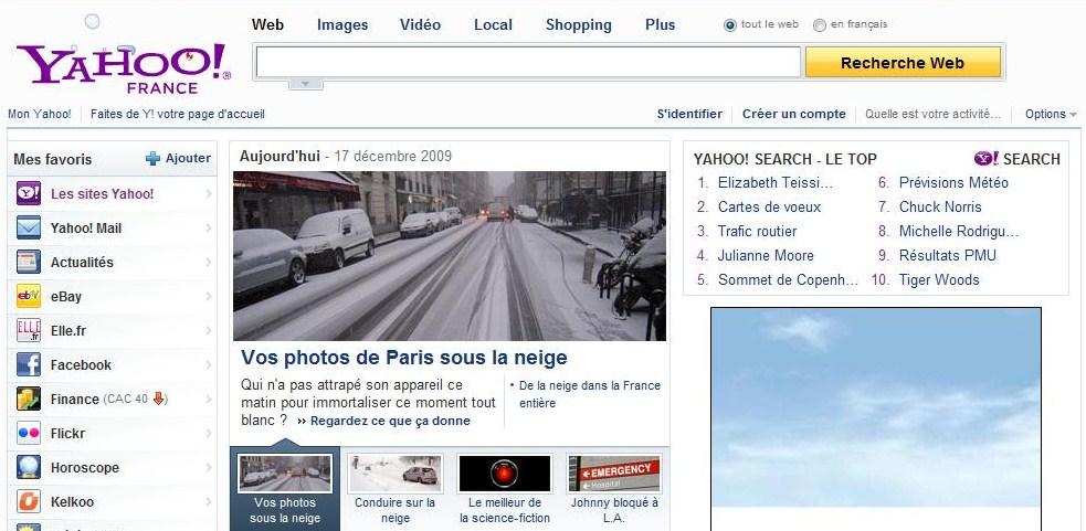 Yahoo 17 décembre Paris sous la neige