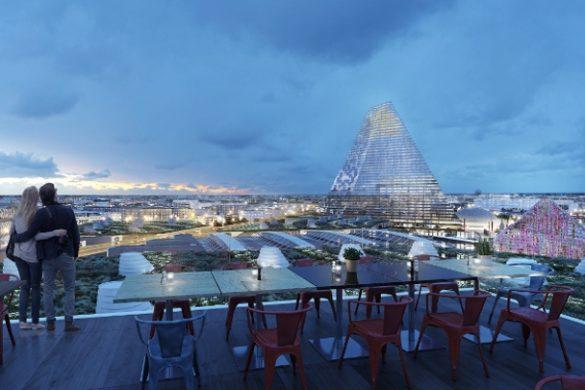 Porte de Versailles - nouveau parc et jardin Mama Shelter Perchoir tour triangle